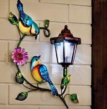 New Solar Powered Bird Flower Lantern Wall Light Plaque Metal Garden Decoration