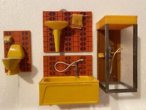 1970s Dollhouse Bathroom Furniture * Orange And Yellow *