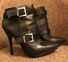 Aldo Real Leather and Fur Black Knee High Heel Boots UK size 6