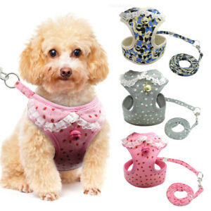 Lace Pet Harness and Nylon Leash set Mesh Liner Dog Cat Walking Vest with Bell