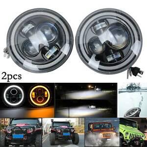 "2X Hi/Lo+HALO 7"" Inch Angel Eye LED HEADLIGHT PAIR for Land Rover Defender"