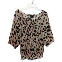 INC International Concepts Size Small Silk Blouse Sheer Animal Print