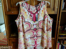 Rose & Olive Sleeveless Top Shirt Multi-color Paisley Woman's 2X