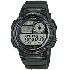 Casio Ae-1000w-3a Digital Map Watch 10 Year Battery World Time 5 Alarms
