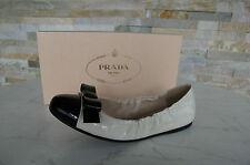 PRADA Gr 38 Ballerinas Slipper Halbschuhe Schuhe shoes creme+black NEU UVP 370 €