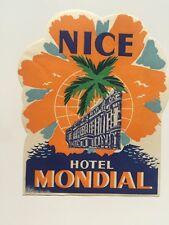 Vintage Hotel Luggage Label -- Hotel Mondial Nice France