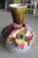 "Unique Vintage England Marked Art Pottery Popcorn Finish Flower Vase 7"" Tall"