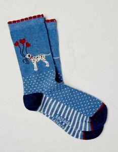 Fat Face Cotton Blend Dog & Heart Balloon Socks UK 4-7 Onesize Blue / Navy