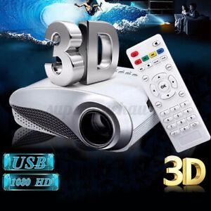 1080P 3D Tragbar Projektor Beamer Theater Multimedia USB AV HDMI Video VGA NEU