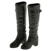 1/6 Scale Women's Black Long Boots Shoes for 12'' Hot Toys Phicen Figure #B