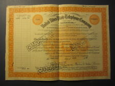 Old 1943 - UNITED RIVER PLATE TELEPHONE CO. - Stock Certificate - ENGLAND