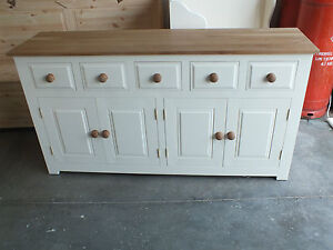 HAMPSHIRE PAINTED 4 DOOR 5 DRAWER SIDEBOARD SOLID PINE & SOLID OAK HAND MADE!