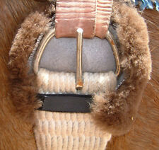 Brown Pair Sheepskin Horse Girth Cinch Ring Covers + Comfort Pads Billet buckle