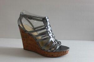 Womens Enzo Angiolini Metallic Silver Leather Wedge High Heel Shoe Size 9.5 M