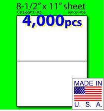 L102, 4,000 Half Sheet Labels, Laser Inkjet, 8-1/2x5-1/2