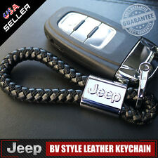 Black Leather Metal Keychain With JEEP Logo Emblem Decoration Gift Accessories