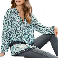 UK Size 8 - 26 Ladies Teal Turquoise Daisy Zip Long Tunic Top