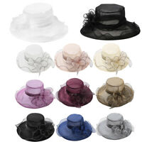 Women Wedding Formal Church Organza Wide Brim Hat Flower Headdress Party Sun Cap