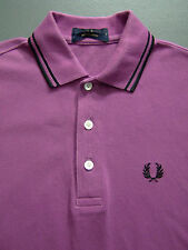 Fred Perry Japanese Tipped Polo Shirt Men's Small Slim Fit Purple Vtg # itaX207