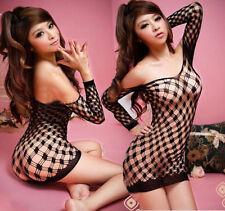 Sexy Black Fishnet Diamond Crotchless MiniDress Bodystocking Fetish Lingerie 227
