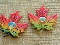 2 Vtg Cape Breton Nova Scotia Canada Souvenir Magnet Maple Leaf Brunswick hill
