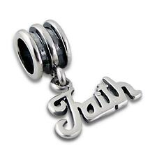 925 Sterling Silver FAITH Word Loyal Hanging Bracelet Charm Bead Gift Boxed B100