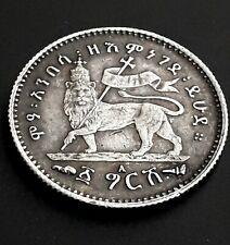 Coin, Ethiopia, Menelik II, Gersh, 1903, Paris, XF (20-25), Silver 1895 E.C