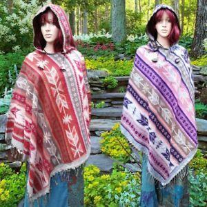 Gringo FAIRTRADE Boho Hippy Soft Blanket Ethnic Print Hooded Poncho Freesize
