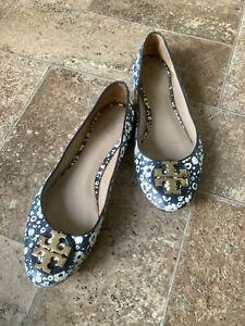 Tory Burch Claire Navy Floral Ballerina Flats Gold Logo Ballet Shoe sz 9