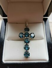 925 STERLING SILVER WOMENS LONDON BLUE TOPAZ CROSS PENDANT - NEW - GEMS TV