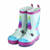 Kids Boys Girls Toddlers Fun Prints Waterproof Rubber Rain Boots Unicorn Pattern