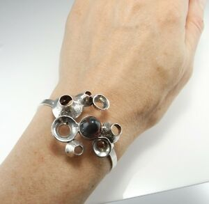 Agate Modernist Biomorphic Sterling Silver Bracelet One of a Kind Artisan Space