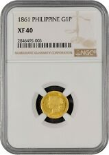 1861 Spanish Philippines 1 Peso Gold Coin NGC XF-40 Nice Original Type