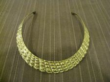 SOLID BRASS CUFF/COLLAR/CHOKER STYLE CHECKERBOARD DESIGN NECKLACE