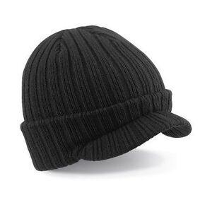 BEECHFIELD BLACK  PEAKED BEANIE WOOLLY CAP HAT
