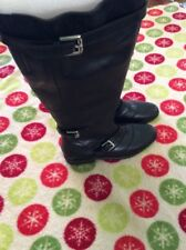 $428 Classic Coach knee high riding boots Lawrencia black women's Leather 6