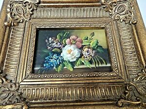 OIL PAINTING ON WOOD FLORAL  FRAMED IN GOLD GESSO FRAME