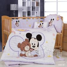Mickey Mouse Baby Crib Cot Sets Bed Linen Nursery Bedding Set Pillow Cases 6pcs