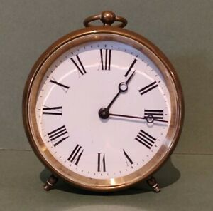 small French Antique brass drum desk table clock