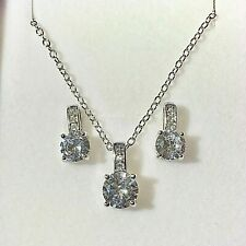 Silver Earrings & Pendant Necklace SET Swarovski Elements Gift Boxed RRP £34.99