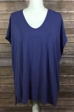 Eileen Fisher Womens Scoop Neck Boxy Shirt Plus 2X Purple Casual Stretch EUC F28