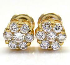 0.50ct 14k Yellow Gold Round Cut Diamond Stud Cluster Earrings Mens Ladies