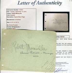 Rabbit Maranville Album Page Jsa Signed Authentic Autograph
