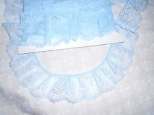 "LIGHT PASTEL BLUE  3"" Gathered Ruffled  100% Polyester Lace (5 yards)"