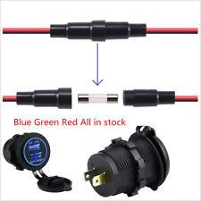 Blue USB Charger Socket Power Outlet Q3.0 & 2.4A Port for Car Boat Marine Mobile
