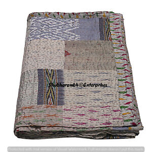 Patchwork Grey Silk Kantha Quilt Queen Bedspread Handmade Throw Bohemian Blanket