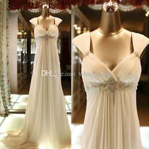Beach Chiffon Wedding Dresses Empire A Line Spaghetti Straps Beach Bridal Gowns