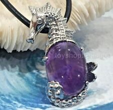 New Amethyst SeaHorse Necklace Leather Gemstone Pendant