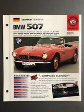 """1956 - 1959 BMW 507 Roadster IMP """"Hot Cars"""" Spec Sheet Folder Brochure Awesome"""