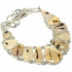 """Larvikite - Dendritic Agate 925 Sterling Silver Jewelry Necklace 17.99"""" T8668"""